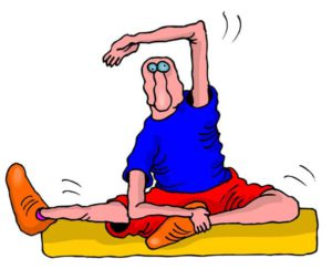 cartoon of man stretching